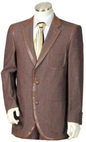 Mens Brown Faux Leather Contours Denim Jacket