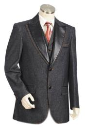 Mens Black  Peak Lapel Denim blazer