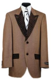 Mens Rust Low Peak Lapel Denim Sport Coat