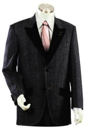 Mens 2 buttoned Denim Black Denim Suit