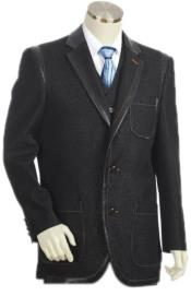 Mens 6 on 3 Double Breasted Denim Suit