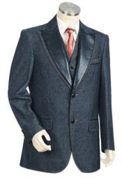 Mens 3 piece vested blue Denim blazer