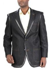 Mens two button closure Denim blazer