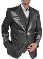 Mens double breasted loose fitting Denim blazer