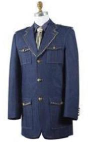 Mens Combination of denim fabric Denim blazer