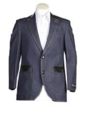 Mens Fashion 2 Button  Denim blazer