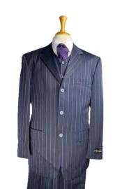 Navy Blue and Turquoise Blue Pinstripe Vested Three Piece Vested Suit
