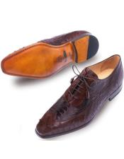 Mezlan Brand Mezlan Mens Dress Shoes Sale Mens Tobacco Brown Ostrich Skin