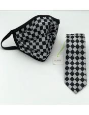 Checkered Double Layer Face Mask And Matching Tie Set