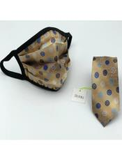 Face Mask And Matching Tie Set Beige Dot