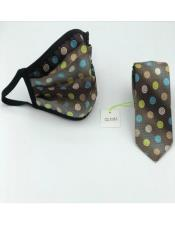 Face Mask And Matching Tie Set Olive Green Dot