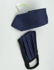 Face Mask And Matching Tie Set Navy Dot