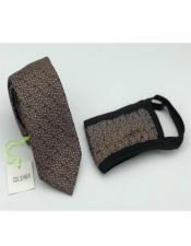 Face Mask And Matching Tie Set Brown Dot