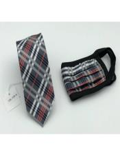 Face Mask And Matching Tie Set Black ~ Red Plaid