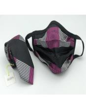 Face Mask And Matching Tie Set Fuchsia Checkered
