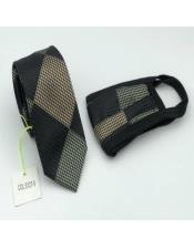 Face Mask And Matching Tie Set Olive Green Checkered