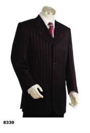 Bold Pronounce Gangster Pinstripe 3 Button Vested Wide Leg Pants Red