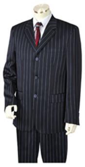 Chalk Pronounce Gangster Pinstripe 3 Button Vested Wide Leg Pants Navy