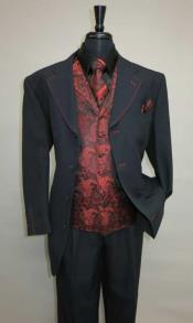 Four Button Single Breasted Suit Vested Suit Vested Suit Black ~ Red