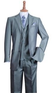 Notch Lapel Three Buttons Style Suit Silver