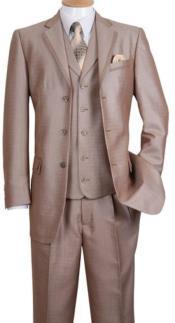3 Button Notch Lapel Fashion Cheap Priced Business Suit Tan