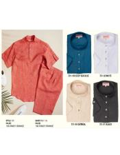 Linen Yarn-Dye Banded Collar Pop Over Shirts