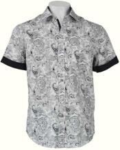 Mens White/Black Linen Pattern Shirt