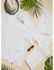 Embroidery Detail White Linen Short Sleeve Dress Shirt