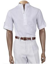 White Linen Banded Collar Shirt