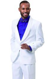 EJ Samuel Suit 2pc Mens Tuxedo White