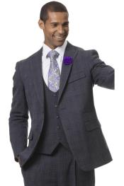 EJ Samuel Suit Checkered Fashion Suit Charcoal With Purple