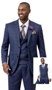 EJ Samuel Suit Fashion Fashion Suit Blue With Pink