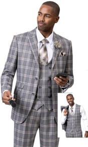 EJ Samuel Suit Fashion Fashion Suit Grey Plaid