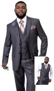 EJ Samuel Suit Fashion Fashion Suit Charcoal Plaid