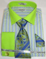 Mens Fashion Dress Shirts and Ties Green Lime Multi Colorful Mens Dress