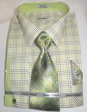 Mens Fashion Dress Shirts and Ties Dark Green Colorful Mens Dress Shirt