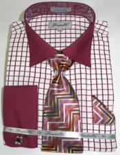 Mens Fashion Dress Shirts and Ties Burgundy Colorful Mens Dress Shirt