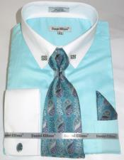 Mens Fashion Dress Shirts and Ties Mint Green Colorful Mens Dress Shirt