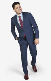 Wool Slim Fit Notch Lapel Suit Blue Windowpane