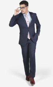 Navy Notch lapels Wool Slim Fit Suit