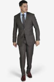 Brown  2-button Wool Slim Fit Suit