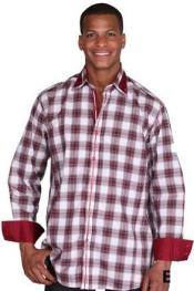 Patterned Dress Shirt - Mens Burgundy Fashion Plaid High Collar Shirt With