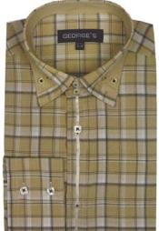 Patterned Dress Shirt - Mens Plaid Fashion Shirt Beige