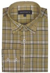 Patterned Dress Shirt - Mens Beige Plaid Fashion Shirts