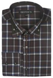 Patterned Dress Shirt - Mens Brown Fashion Plaid High Collar Shirt With