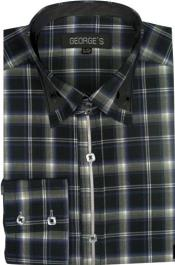 Patterned Dress Shirt - Mens Black Fashion Plaid High Collar Shirt With