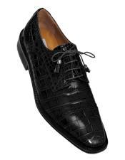 Ferrini Brand Shoe Mens Black Color Exotic Style Gator Shoes