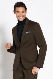 Suit Wool Fabric + Free Turtleneck Sweater Package Dark Brown