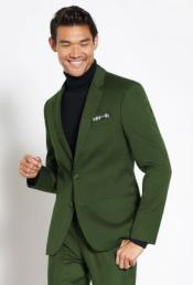 Suit Wool Fabric + Free Turtleneck Sweater Package Olive