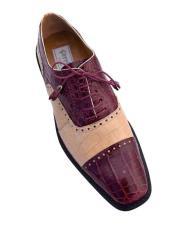 Ferrini Brand Shoe Mens Burgundy Color Classy Cap Toe Style Alligator Shoes